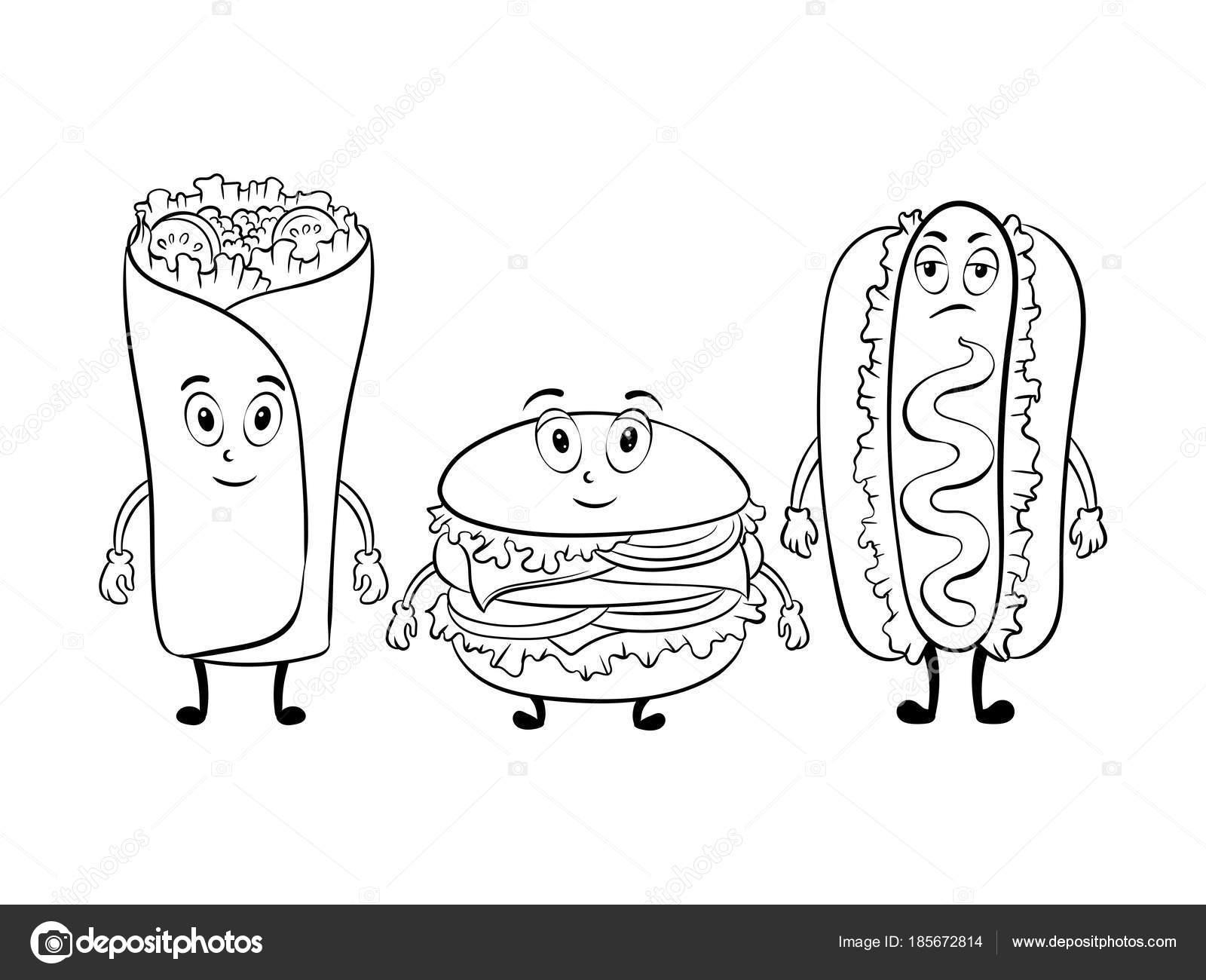 Dibujos animados de comida rápida para colorear vector libro ...