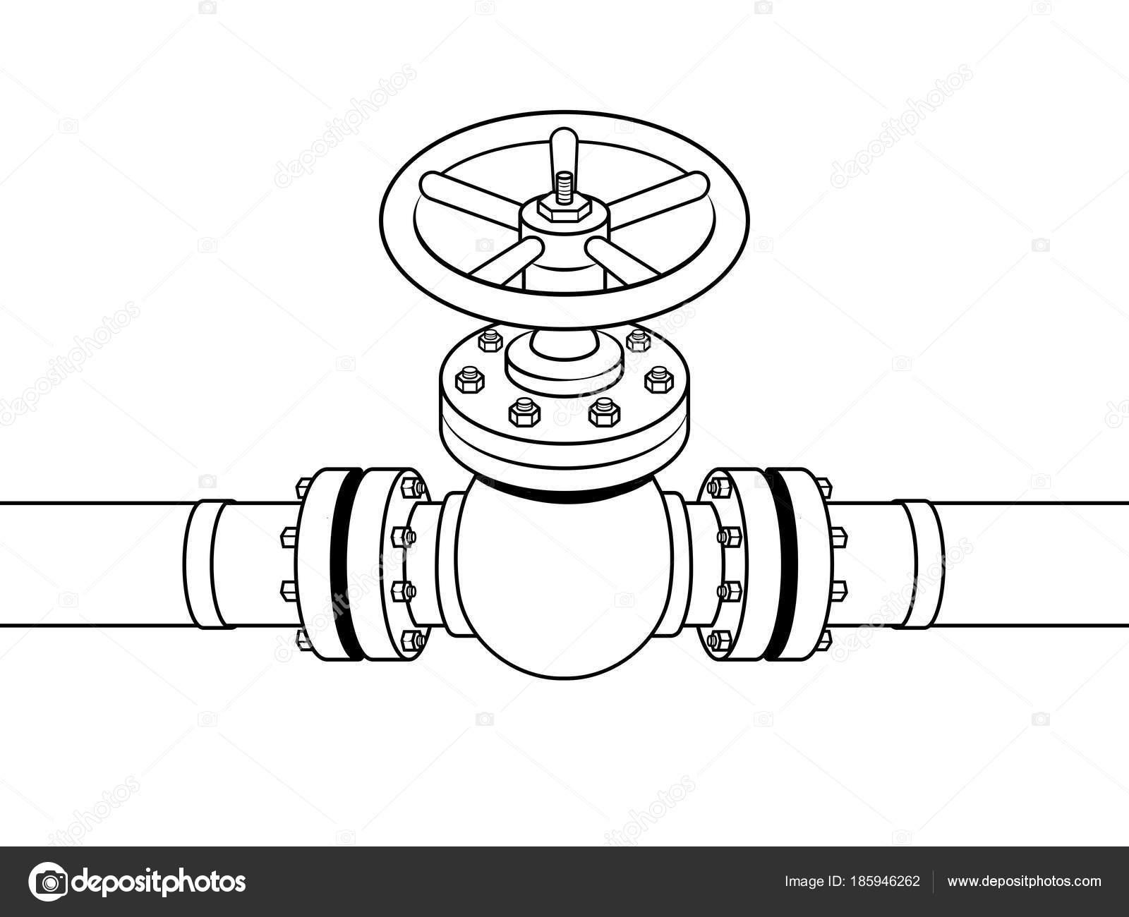 Tubo de gas amarillo con vector de válvula roja para colorear ...