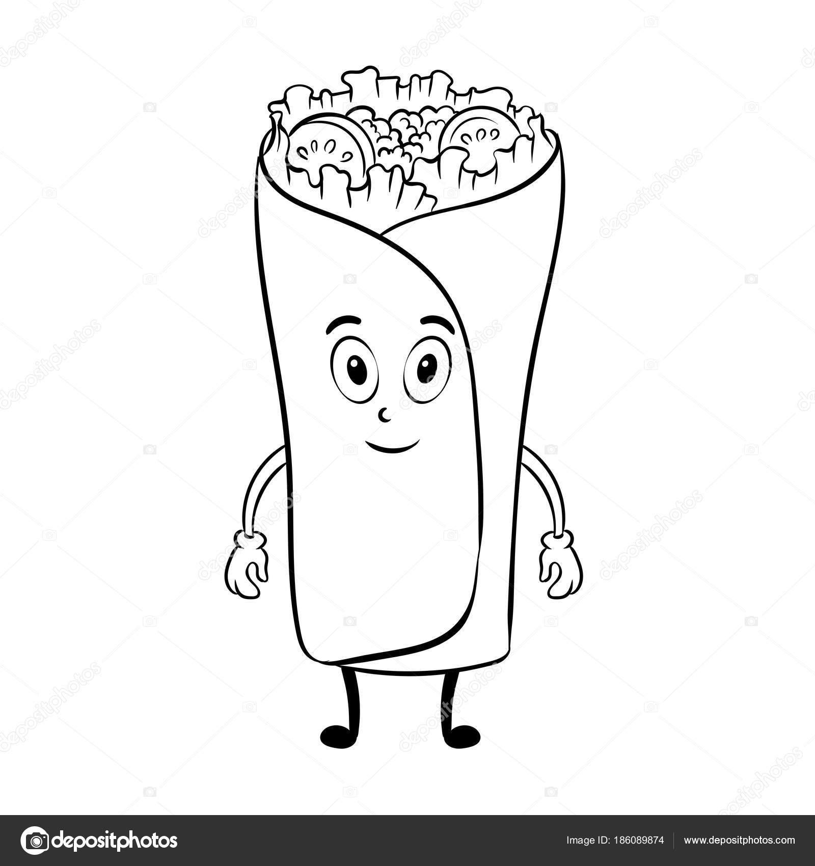 Dibujos animados de Burrito para colorear vector libro — Vector de ...