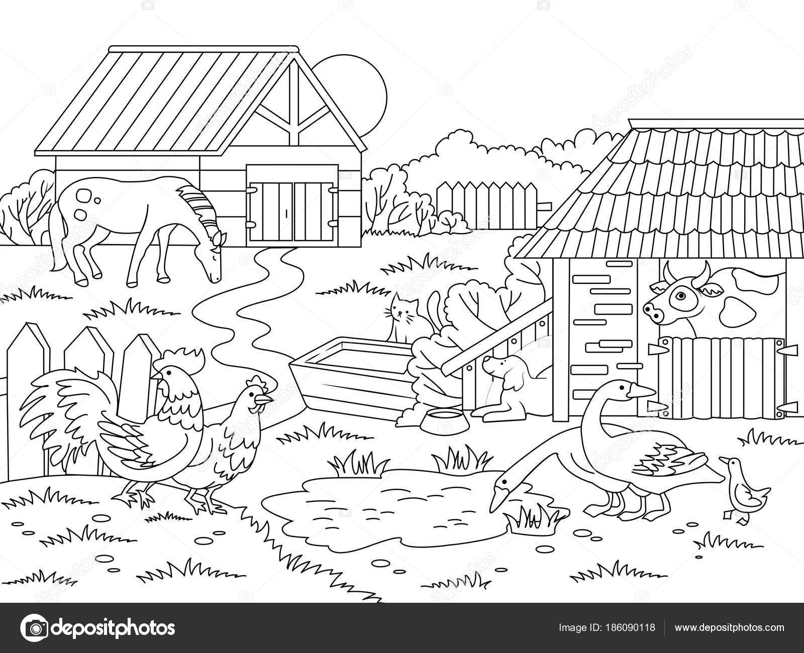 Cartoon Children Coloring Vector Illustration Stock Vector