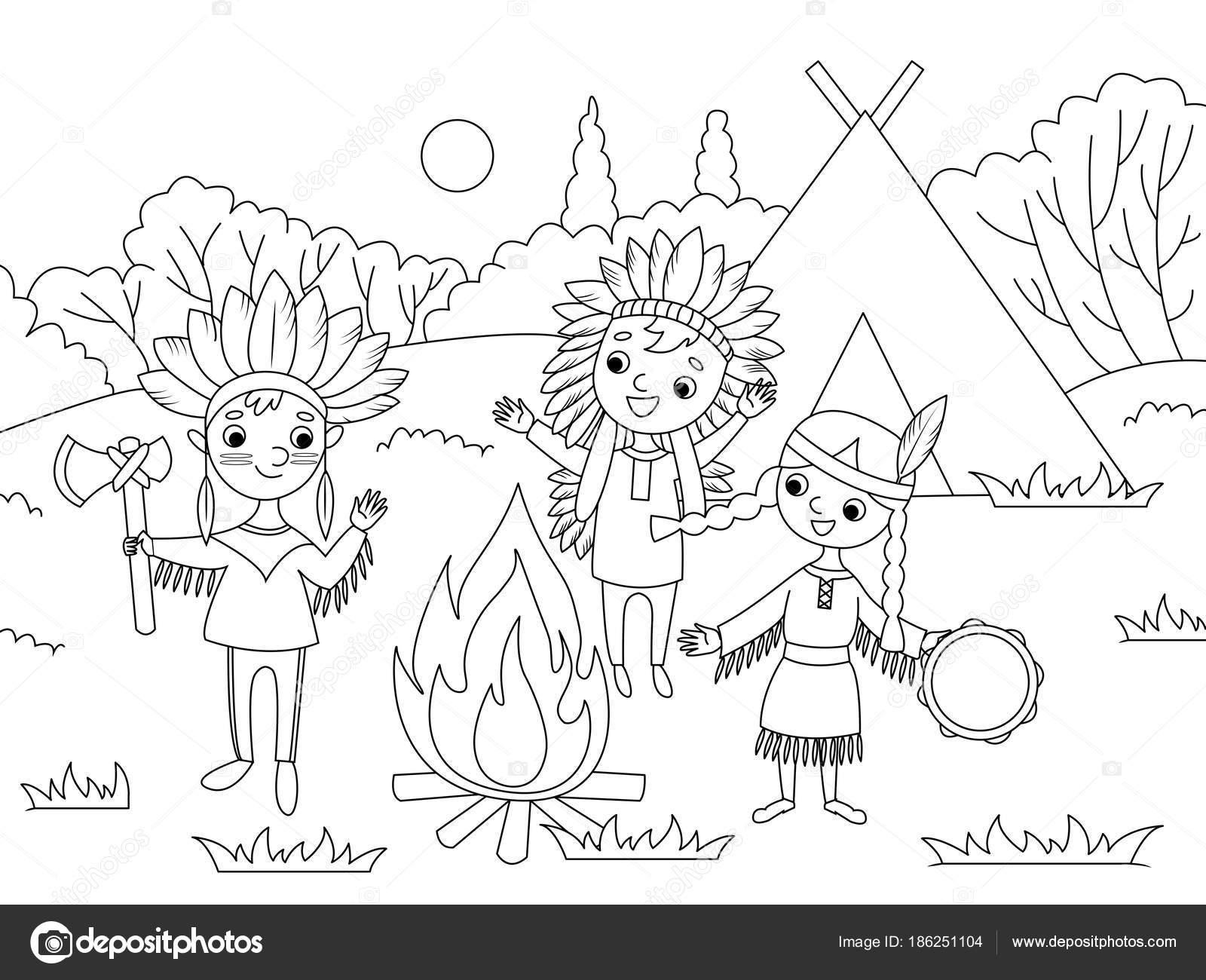 Bambini Dei Cartoni Animati Da Colorare Vettoriali Stock