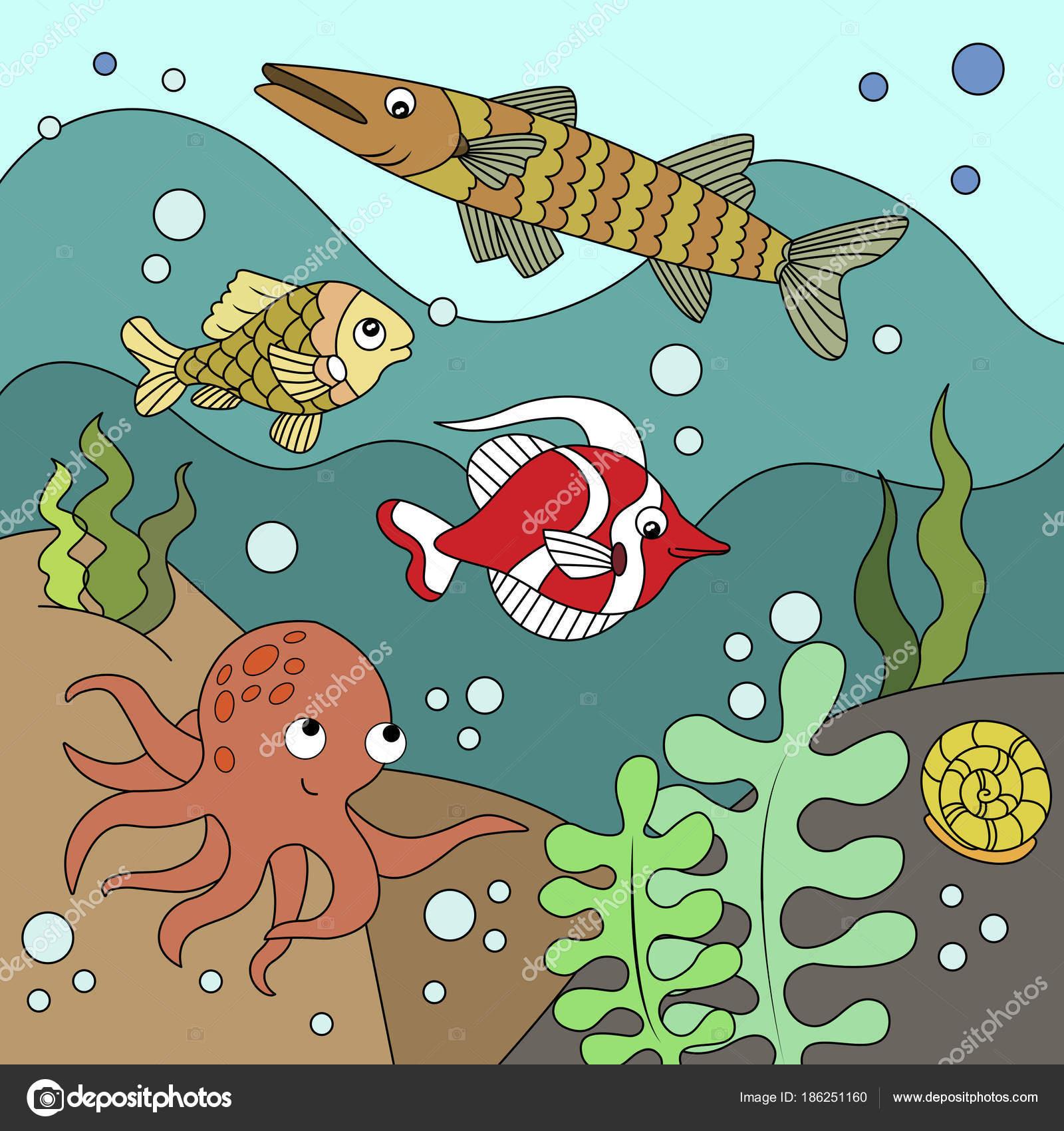 Cartoon Kinder Färbung Vektor-illustration — Stockvektor ...