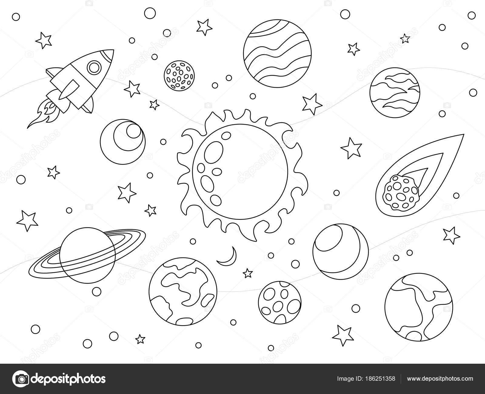 Niños de dibujos animados para colorear ilustración vectorial