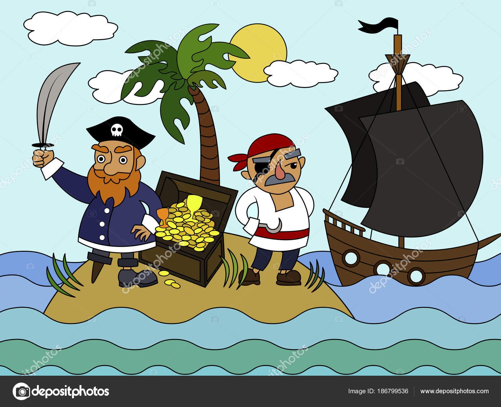 Coloriage Bateau Pirate Couleur.Pirates De Dessin Anime Coloriage Illustration Vectorielle Image