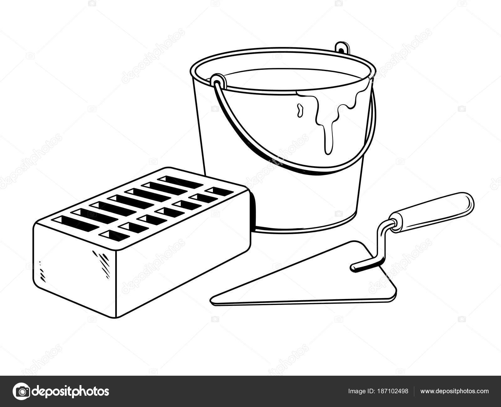 Vector de mortero ladrillo paleta para colorear — Vector de stock ...
