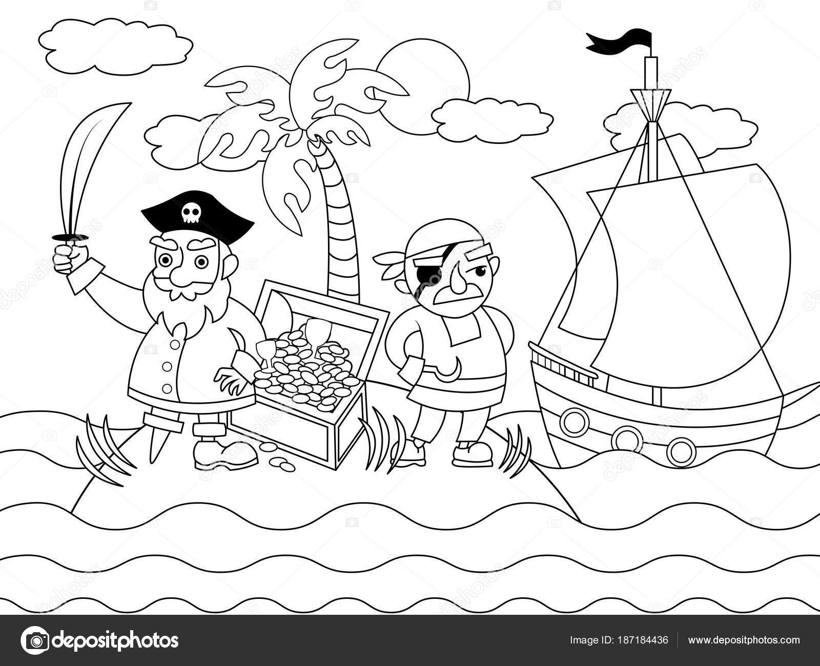 Piratas dibujos animados para colorear ilustración vectorial ...