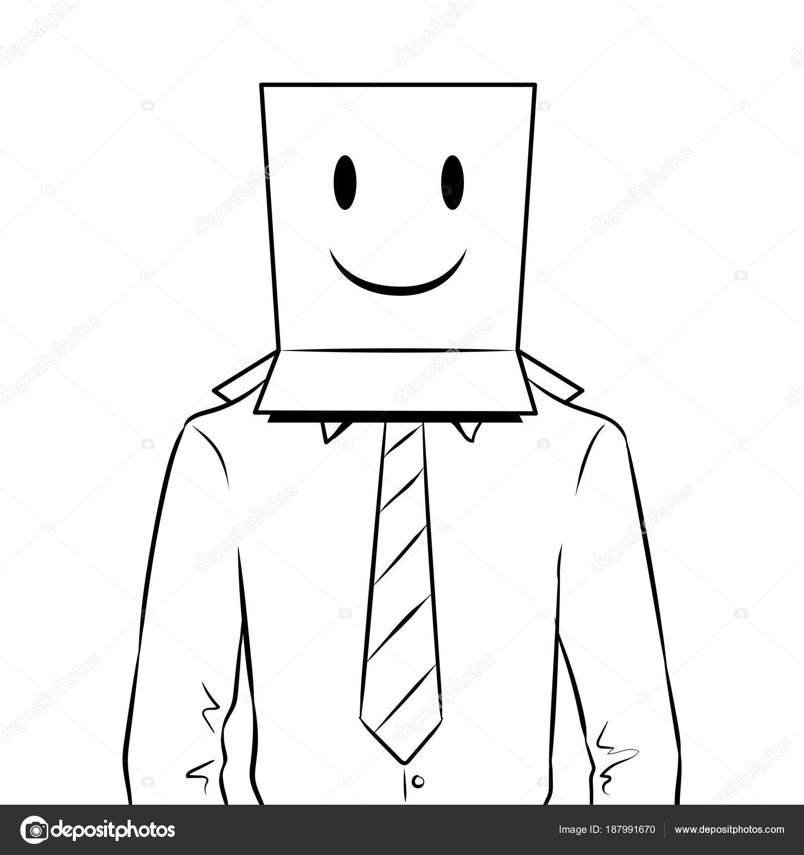 Uomo Con Scatola Emoji Felice Sulla Testa Colorazione Vettoriale