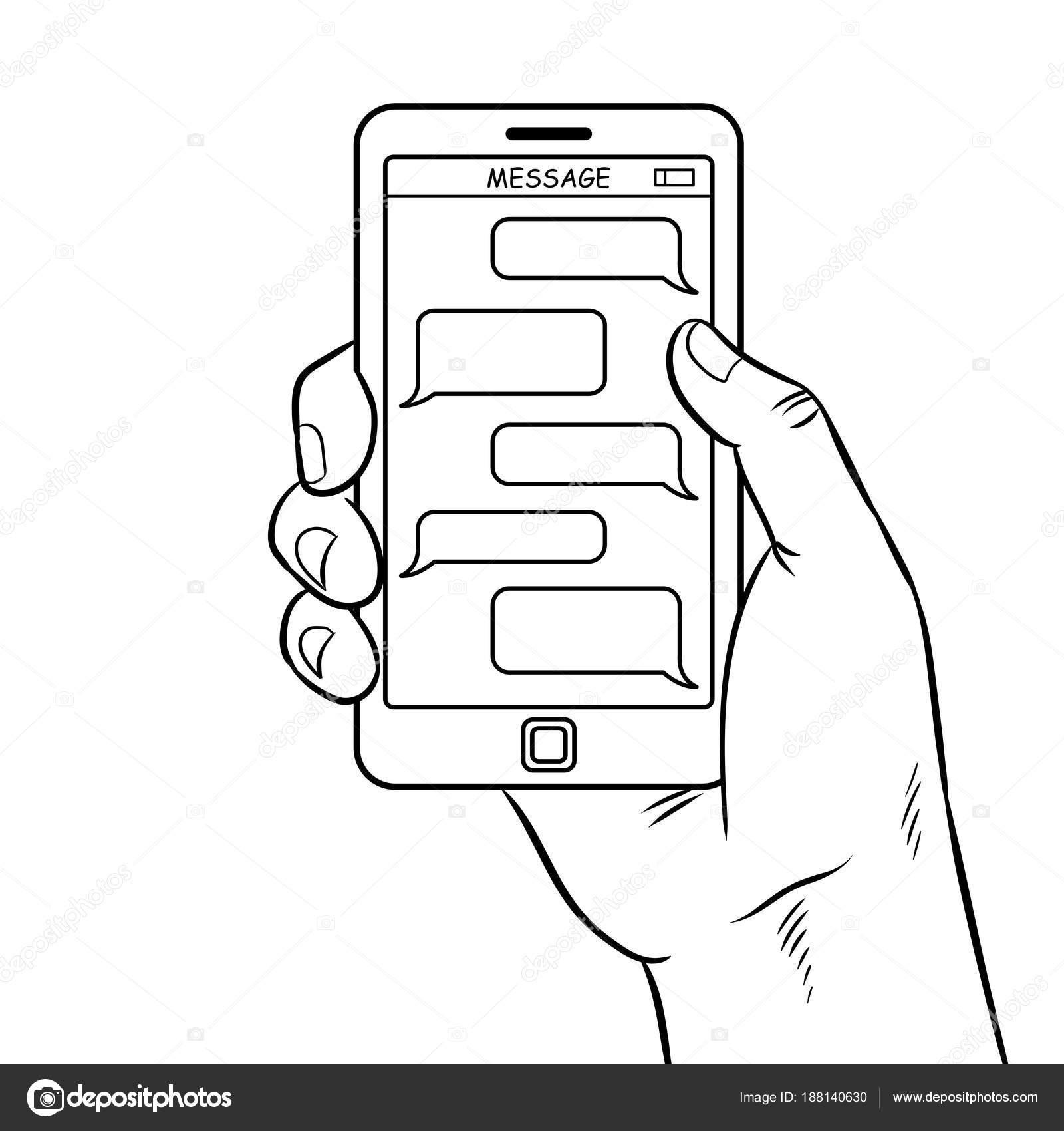 Vector de colorante mensajería de teléfono inteligente — Vector de ...