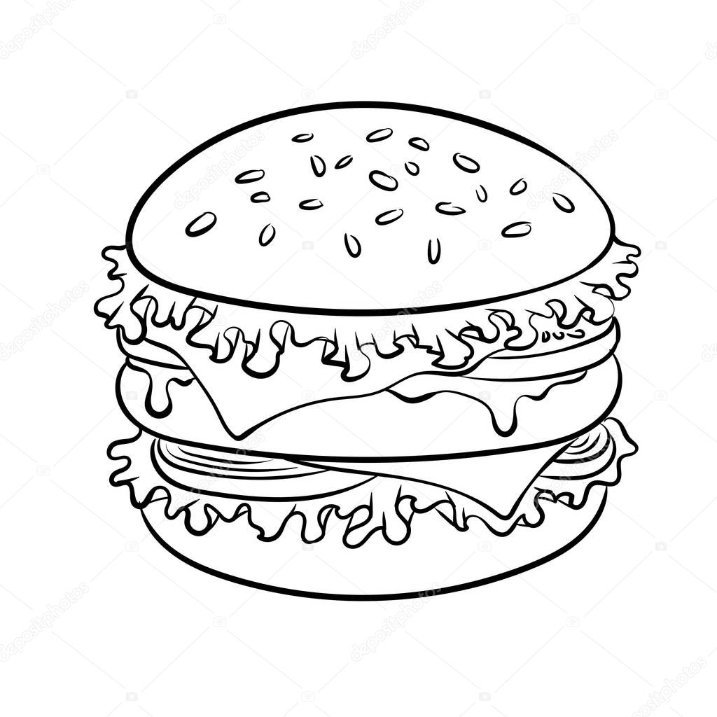 Fotos: hamburguesas para dibujar   Sandwich de hamburguesa ...