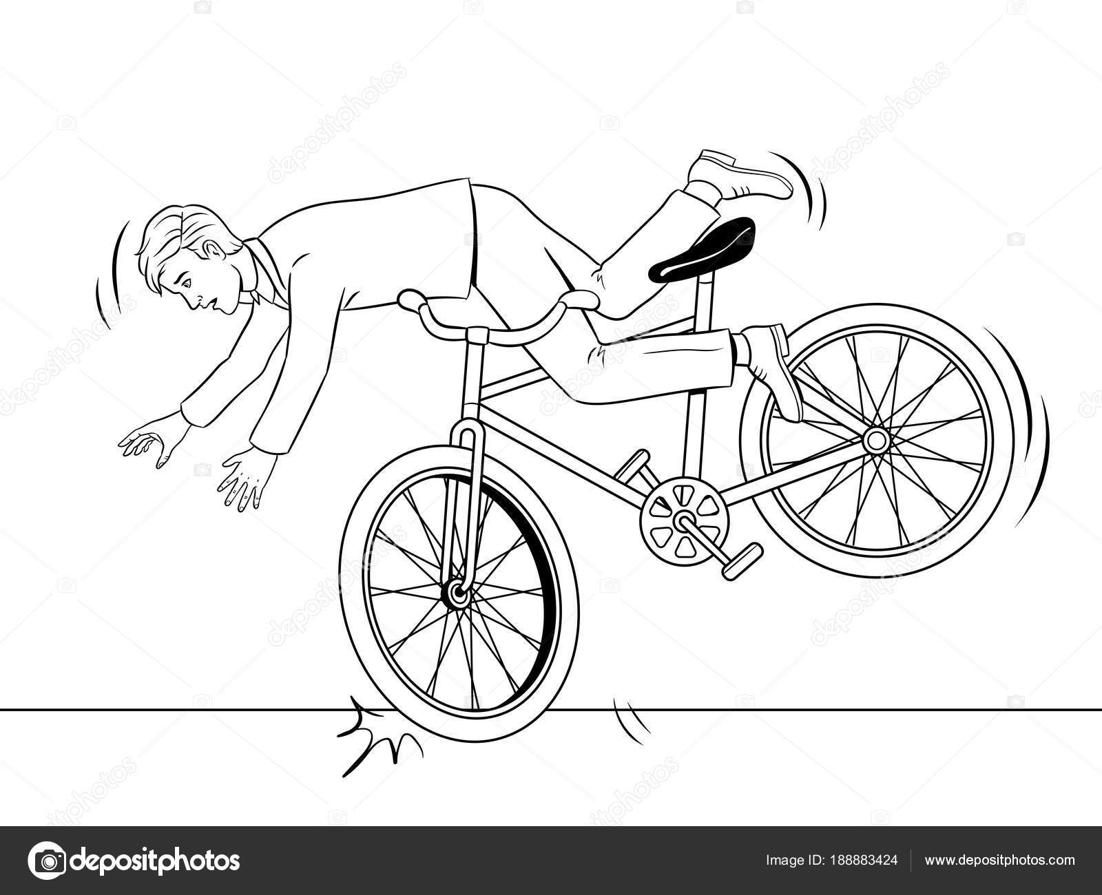 Dibujos Bicicletas Para Colorear Hombre Cae De Bicicleta Para