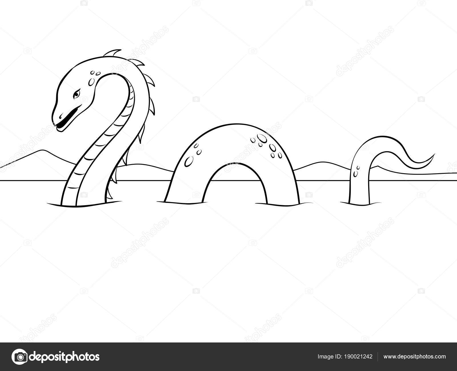 Monstre De Nessie Coloriage Illustration Vectorielle Image