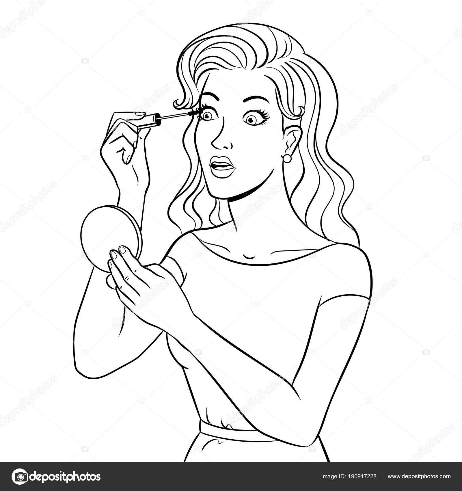 Niña pinta las pestañas para colorear vector libro — Vector de stock ...