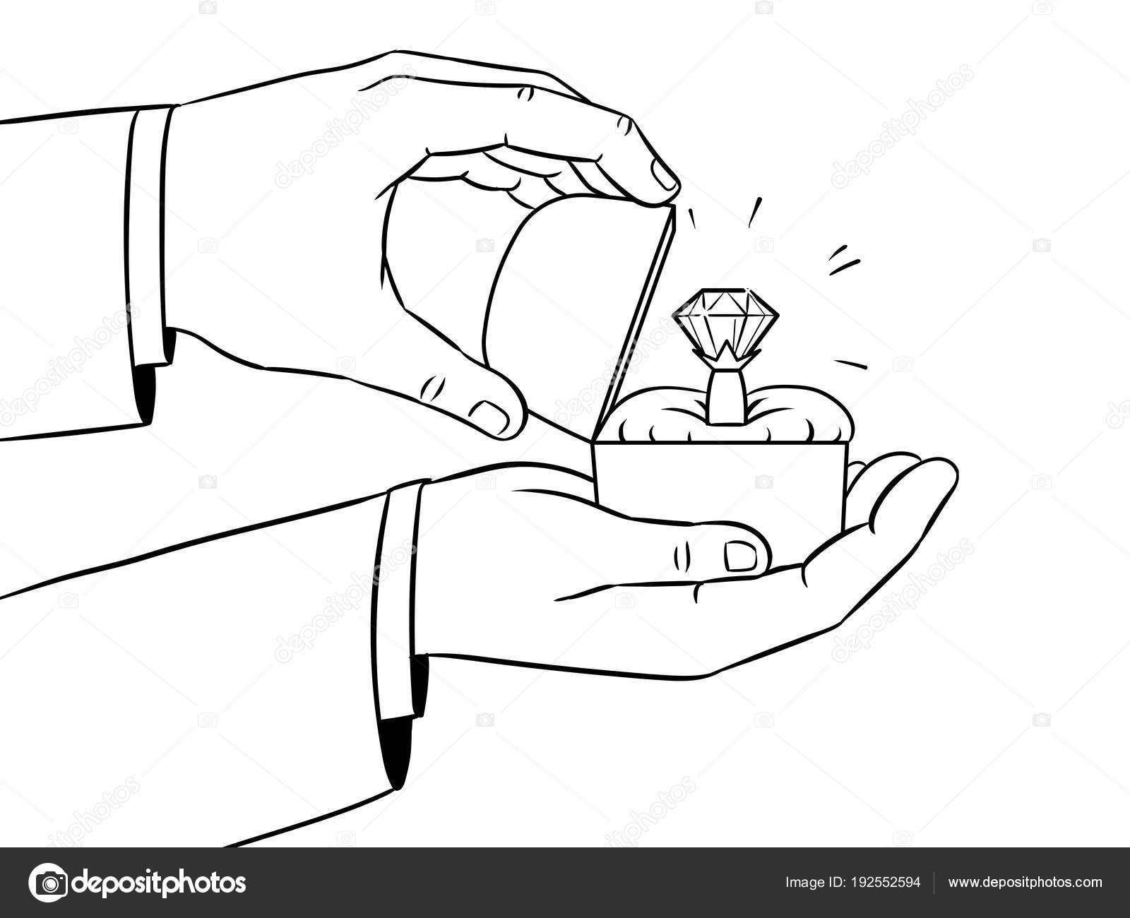 Dibujo De Anillo De Compromiso Con Diamante Para Colorear