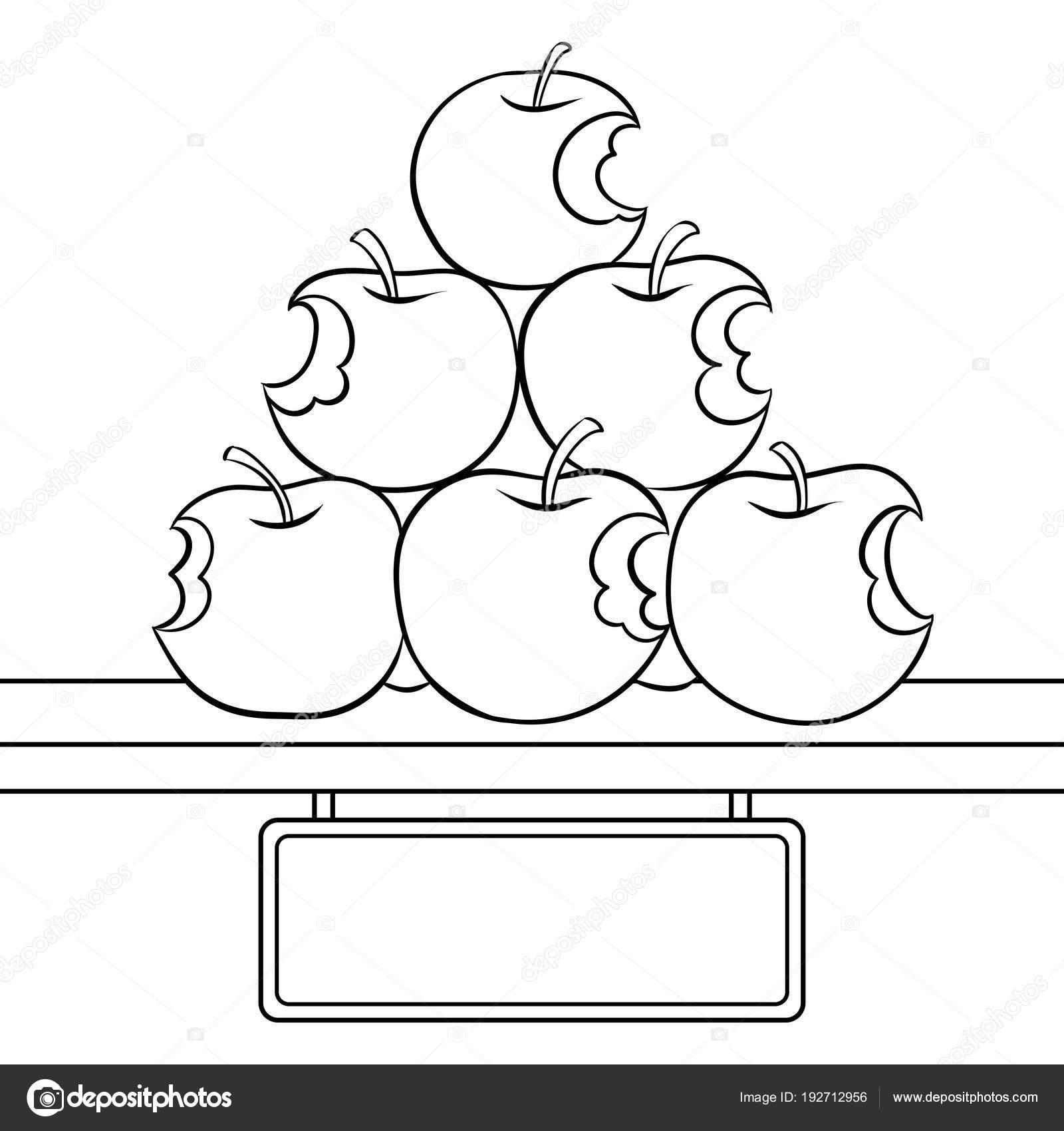 Venta de manzanas mordidas para colorear vector libro — Archivo ...
