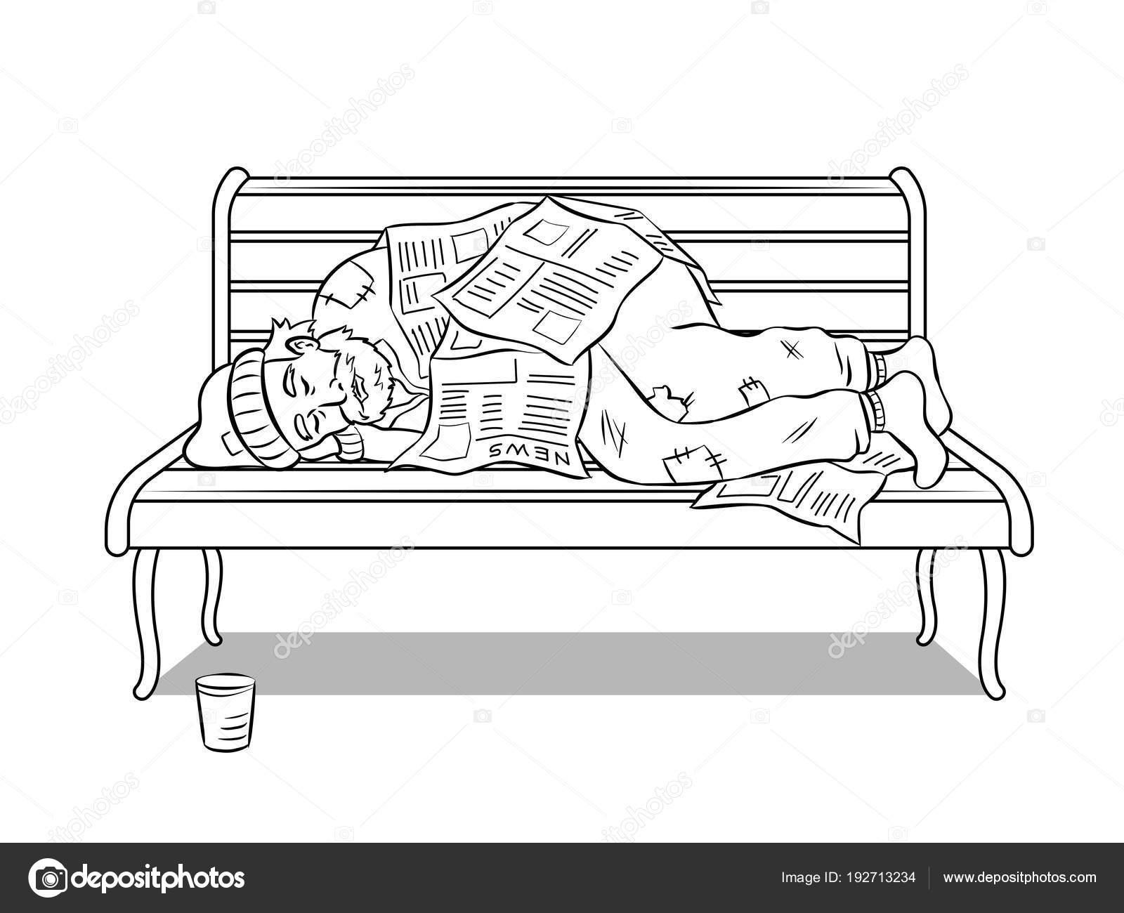 Hombre sin hogar en el Banco para colorear vector libro — Vector de ...