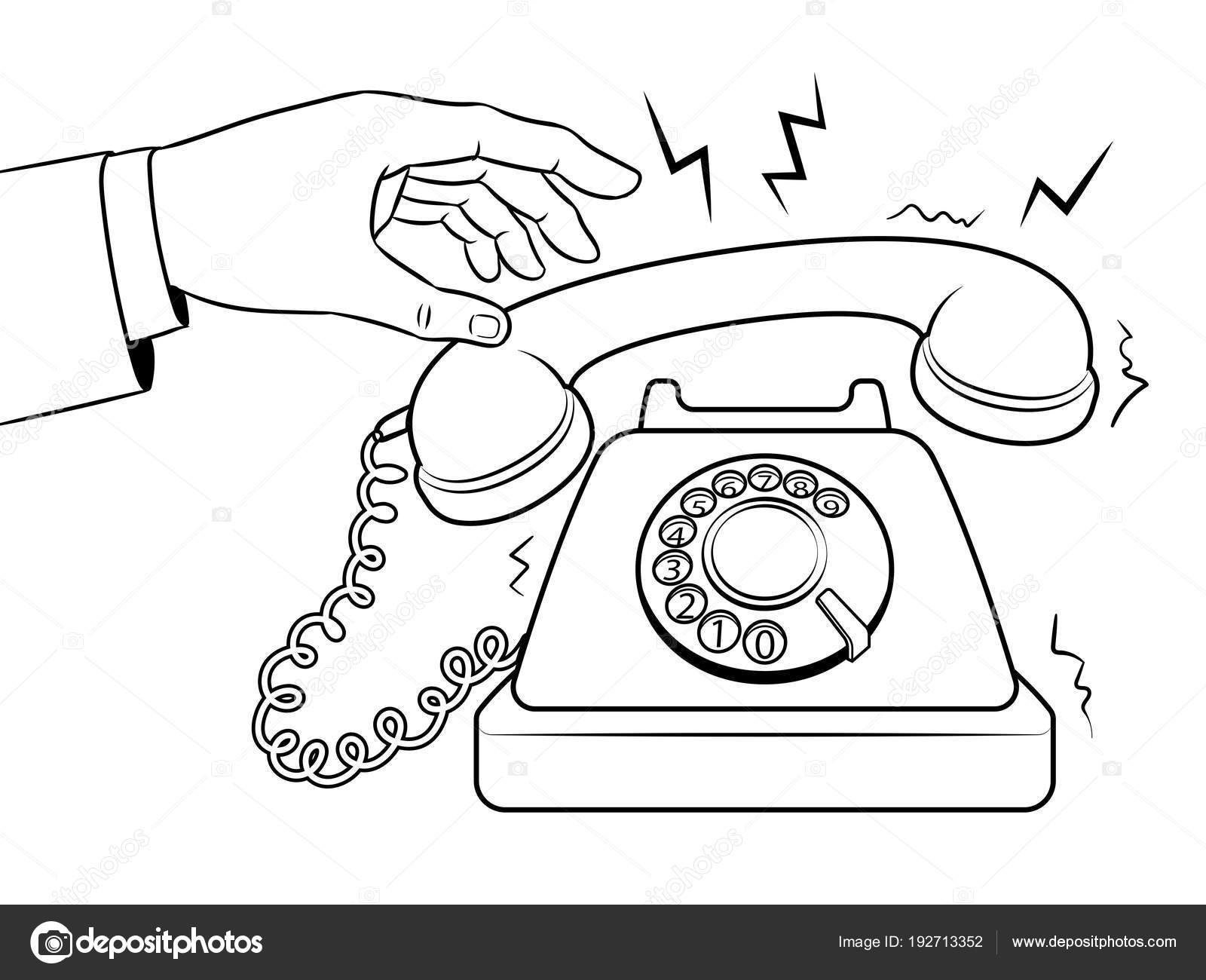 Old phone coloring book vector illustration — Stock Vector ...