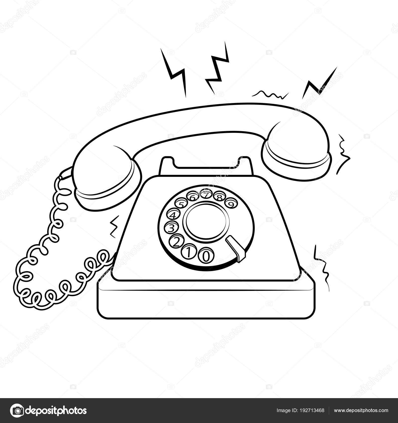 Kırmızı Sıcak Eski Telefon Kitap Vektör Boyama Stok Vektör