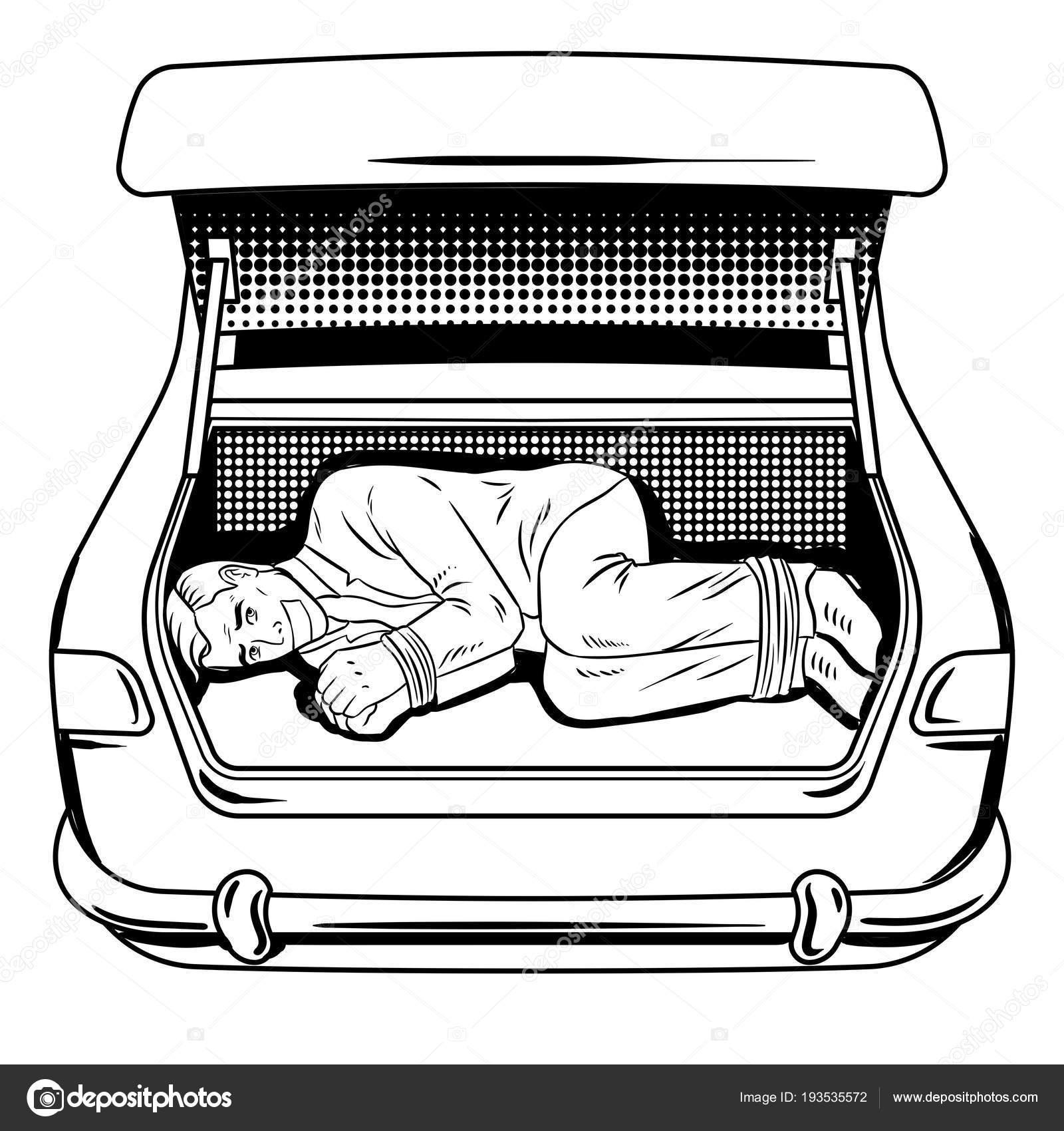 Uomo Rapito Nel Bagagliaio Di Auto Da Colorare Libro Vettoriale