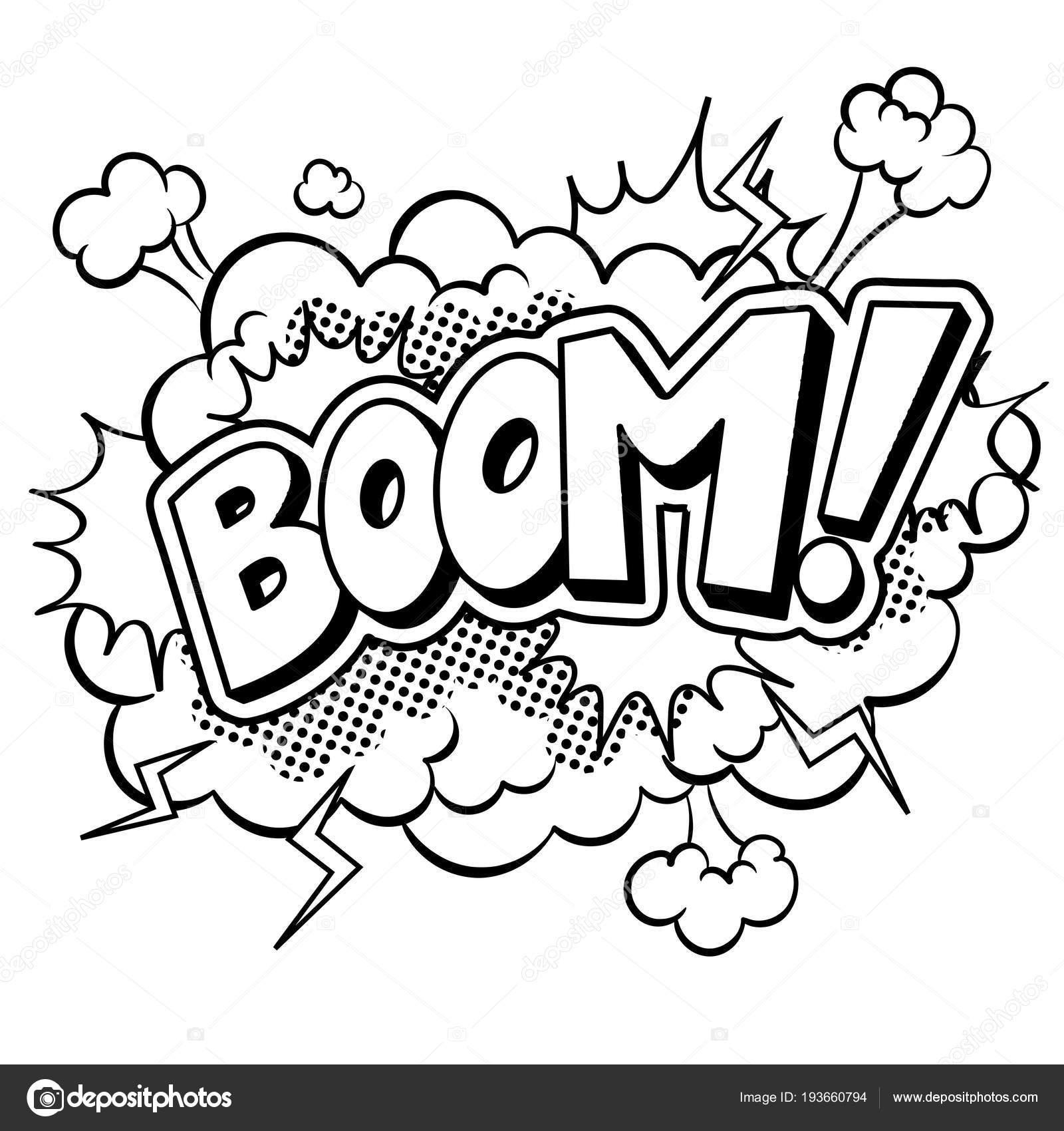 Cómic de la palabra boom para colorear ilustración vectorial ...