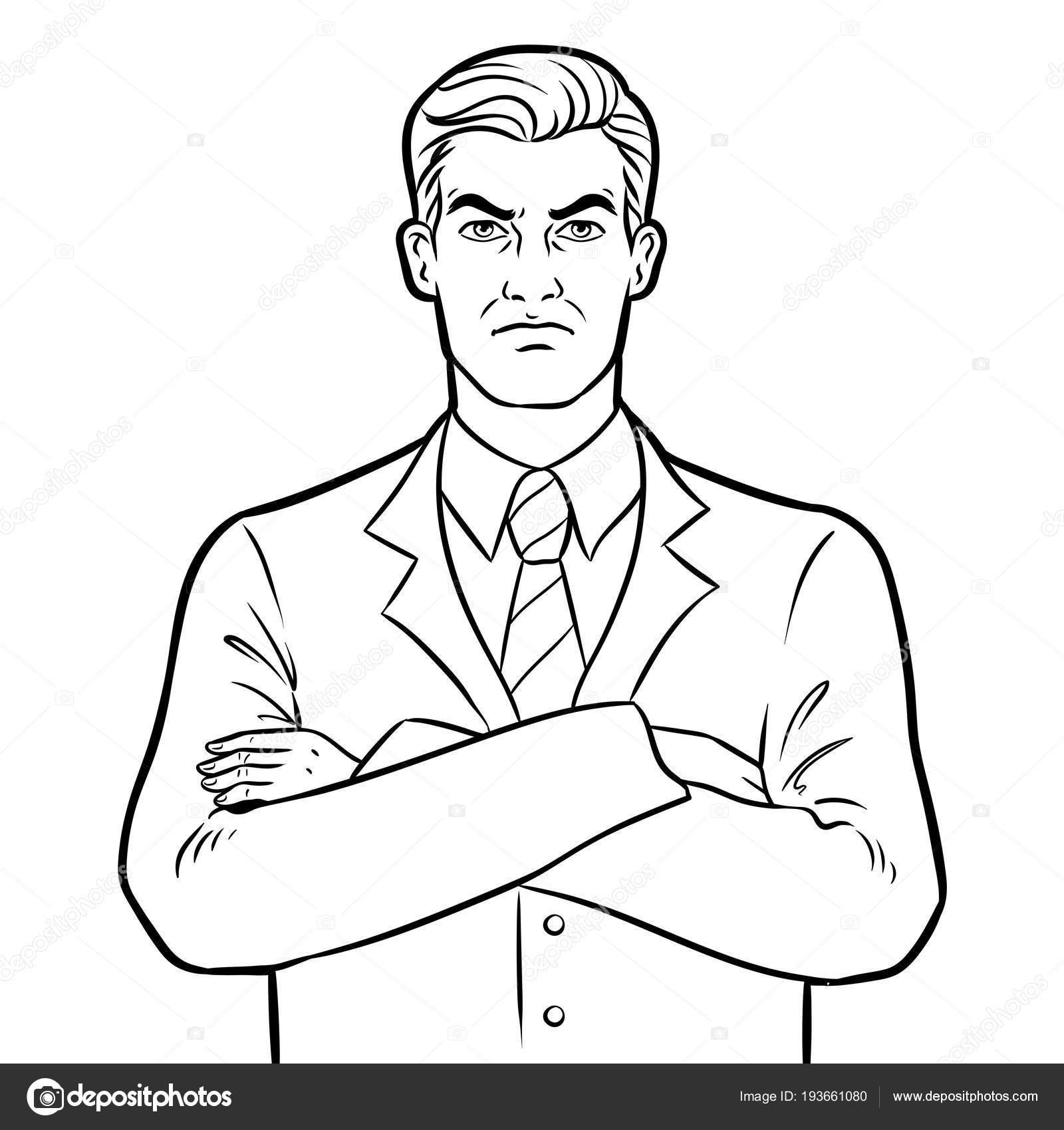 Hombre De Negocios Enojado Jefe Seria Para Colorear Vector
