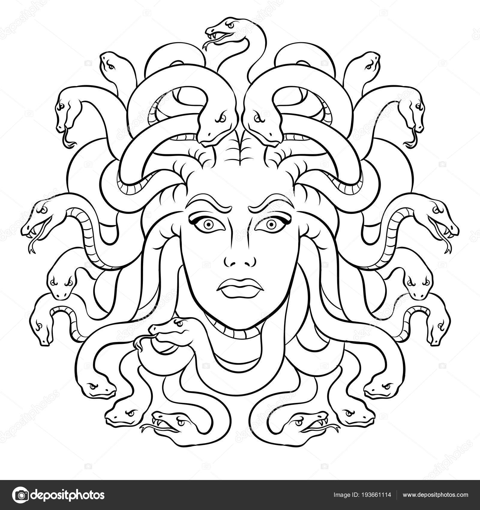 Medusa Greek Myth Creature Coloring Vector Stock Vector