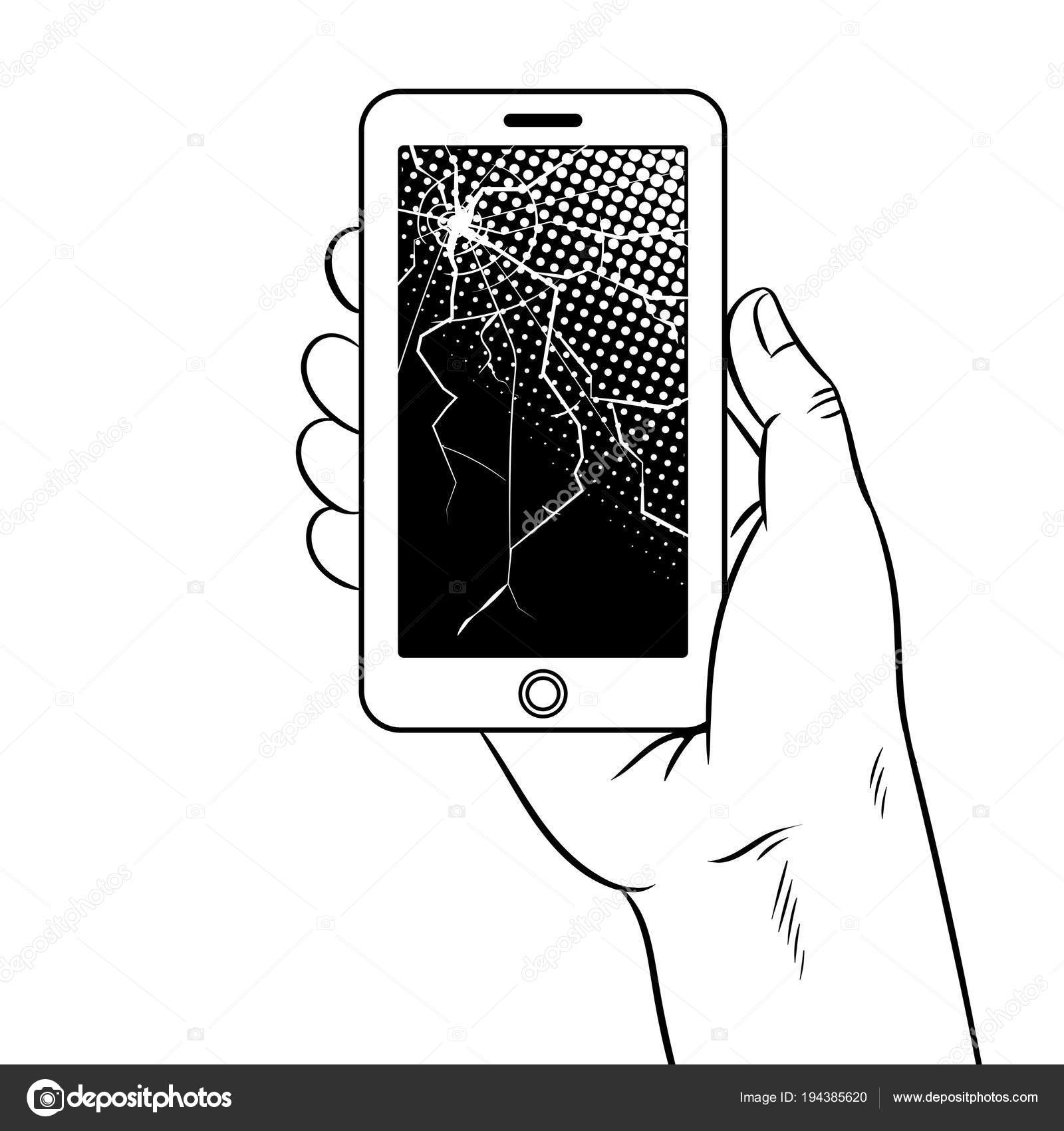 Akıllı Telefon Ve Kırık Ekran Vektör Boyama Stok Vektör