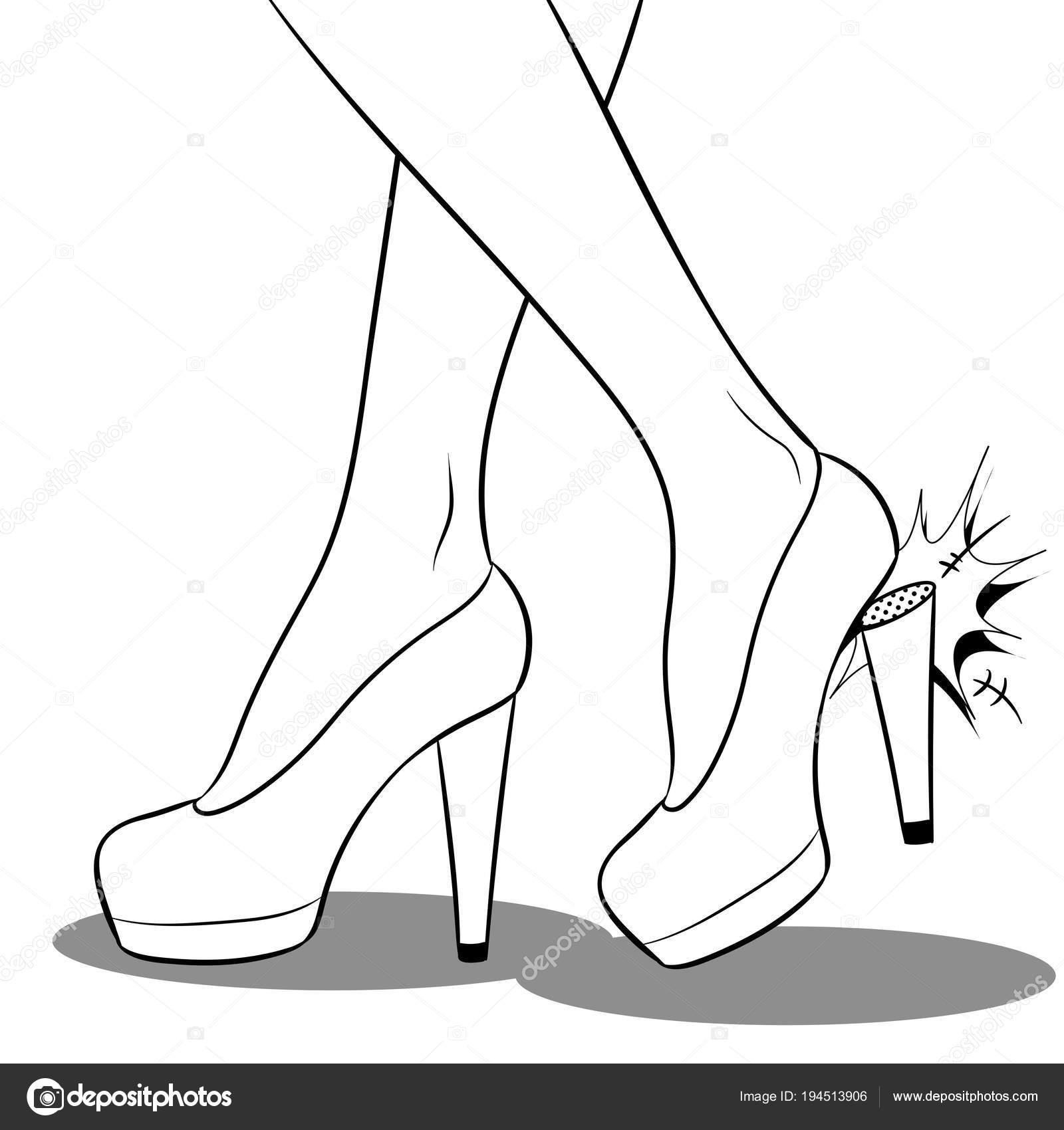 Dibujos Zapatos De Mujer Para Colorear Mujer Rompió El Talón En