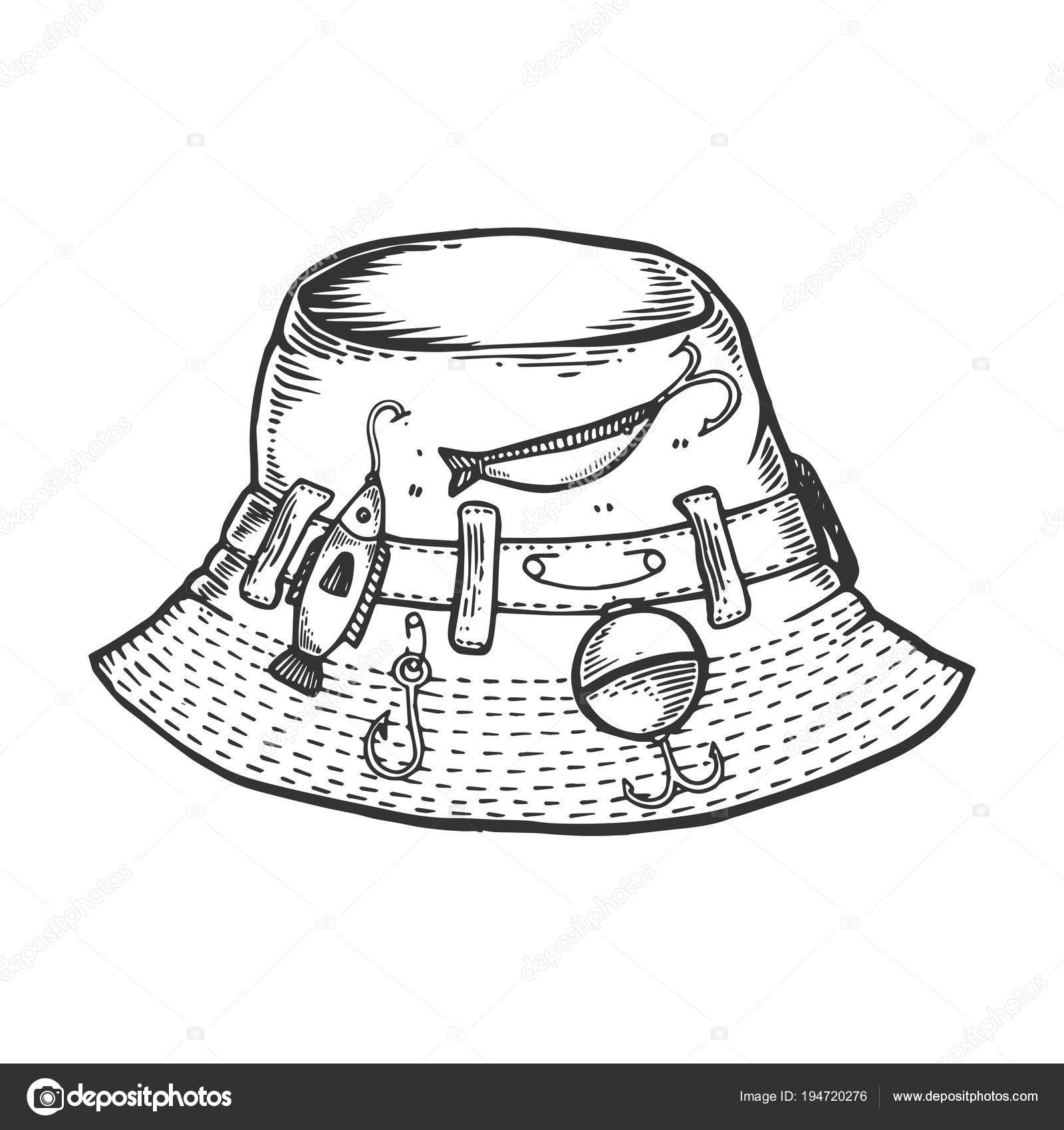 aef695029e2 Fisherman hat engraving vector illustration. Scratch board style imitation.  Black and white hand drawn image.