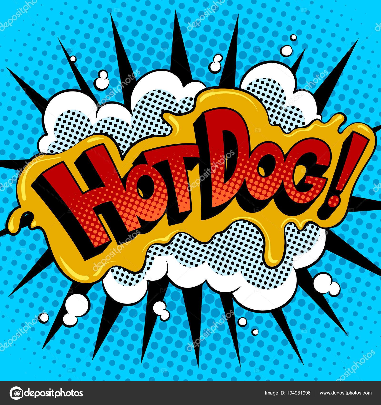 Cachorro Quente Palavra Quadrinhos Pop Arte Vector Vetores De