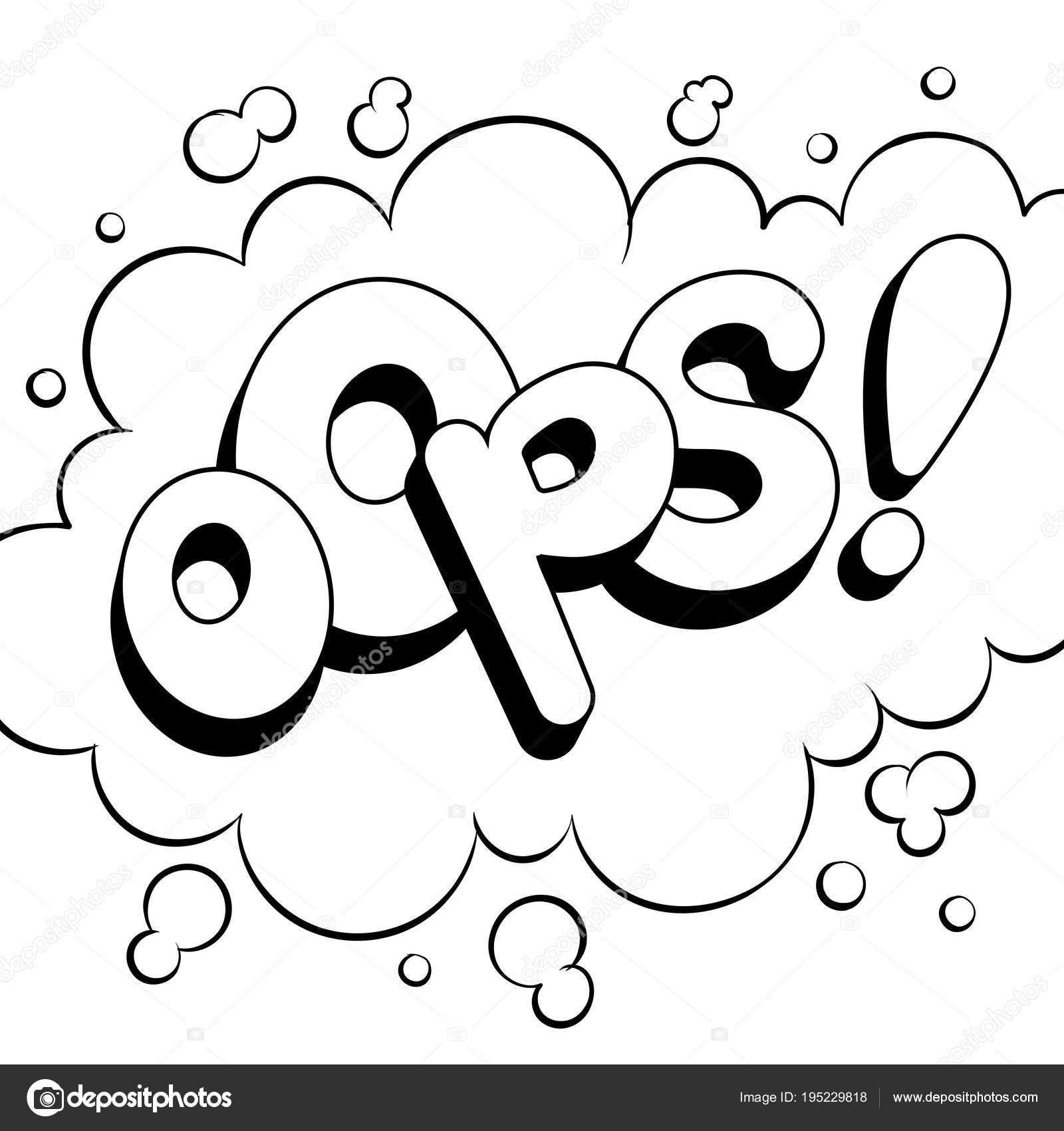 Uy la palabra cómic para colorear ilustración vectorial — Archivo ...