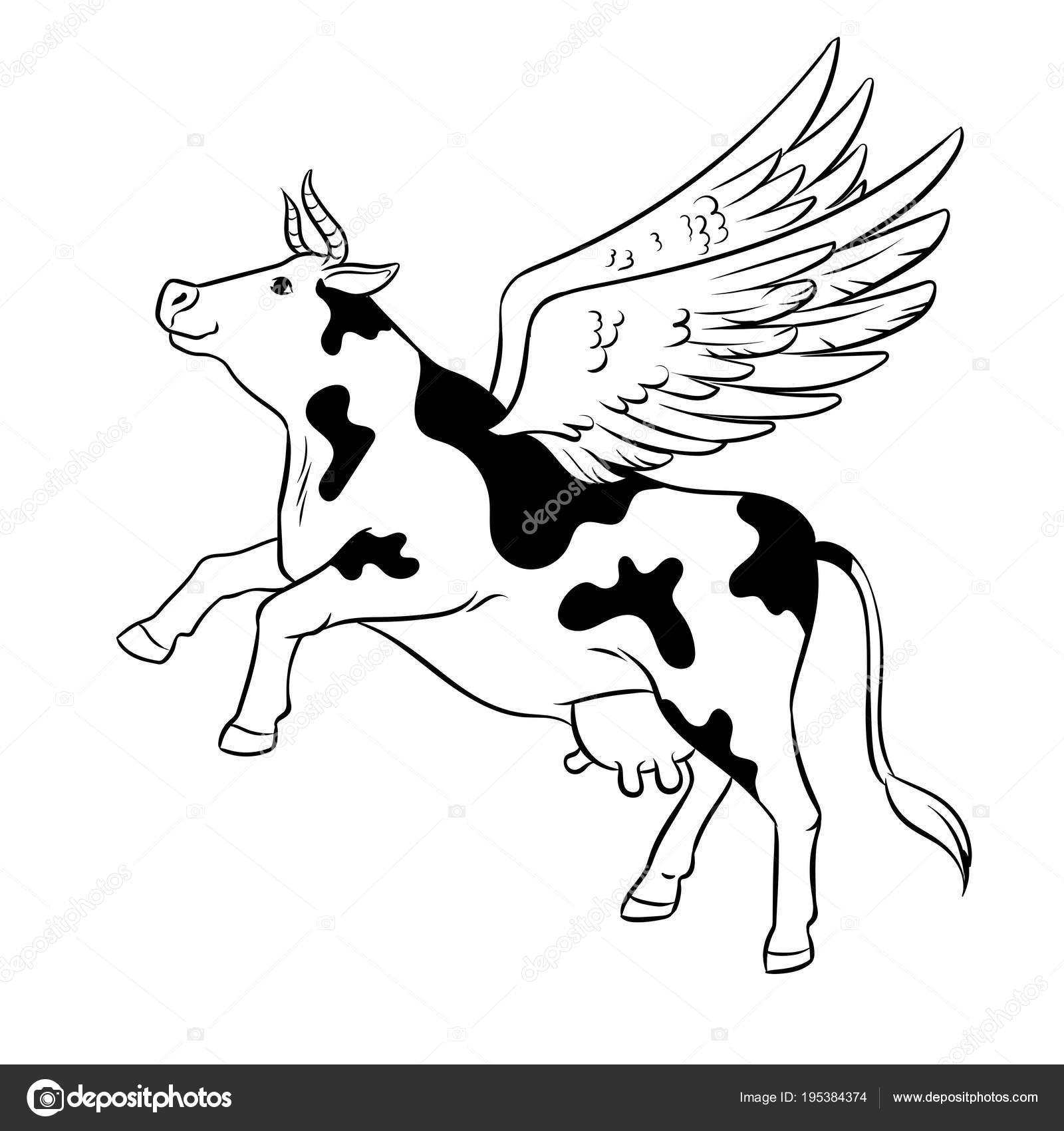 Coloriage Animaux Vache.Vecteur De Coloriage Animaux Ferme Vache De Vol Image Vectorielle