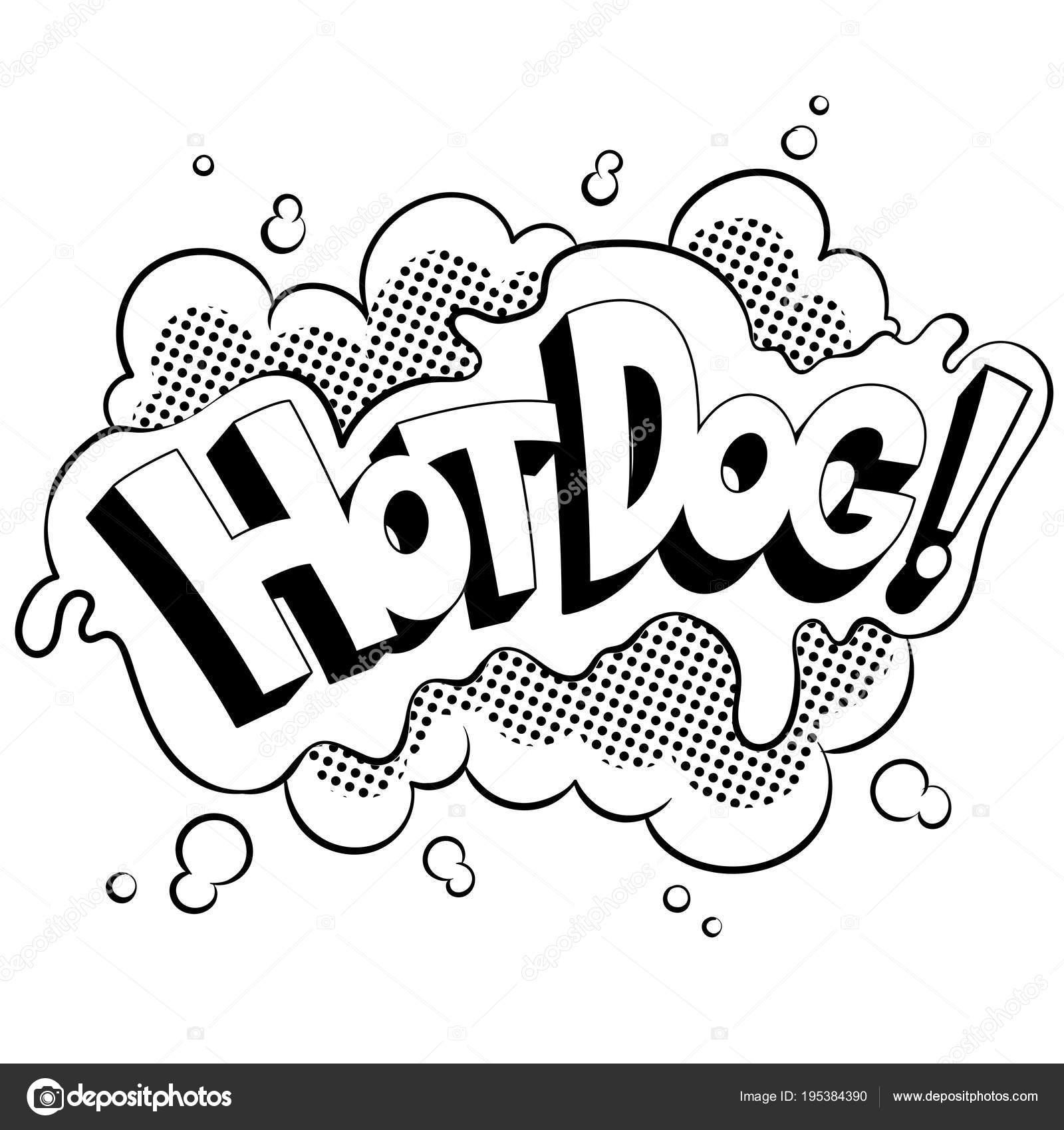 Cómic de la palabra hot dog para colorear vector — Vector de stock ...