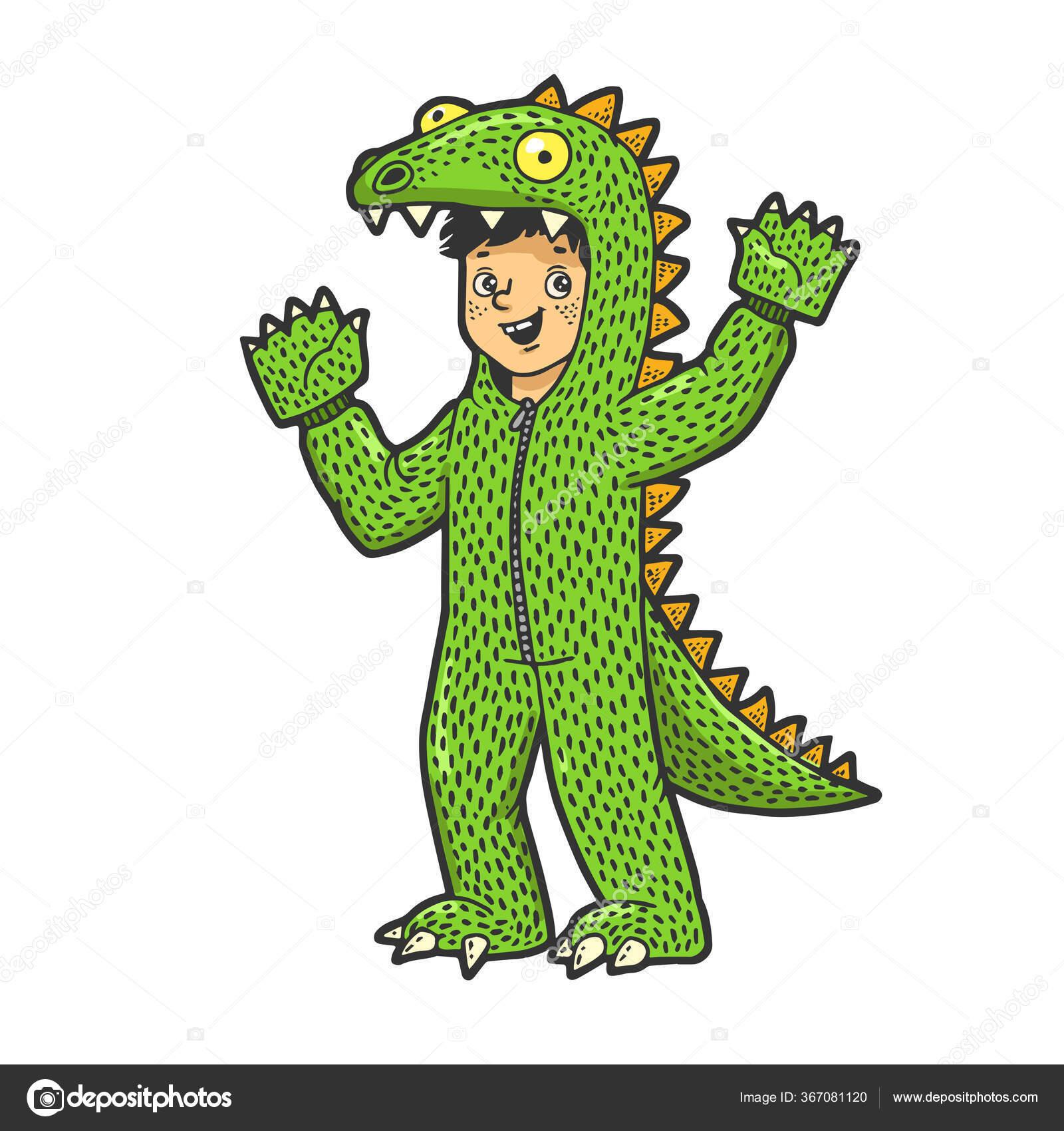Anak Laki Laki Berpakaian Seperti Dinosaurus Warna Sketsa Gambar Gambar Vektor Ilustrasi Desain Pakaian Bergambar Kaos Imitasi Papan Gores Citra Gambar Tangan Hitam Dan Putih Stok Vektor C Alexanderpokusay 367081120