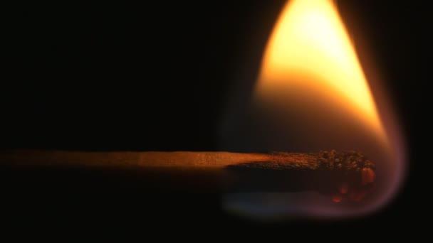 Hořící zápas a plamen. Bezpečnostní shody close-up na černém pozadí