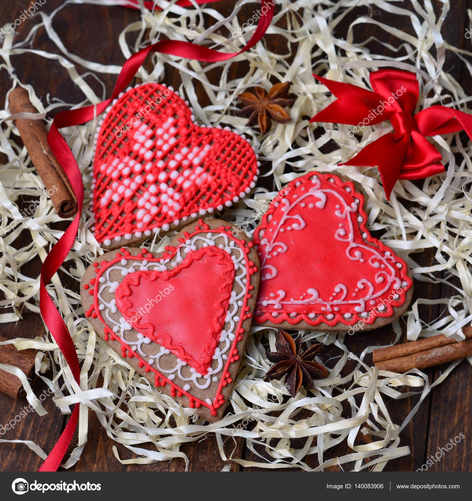 San Valentín Galletas Decoradas Con Glaseado Fotos De
