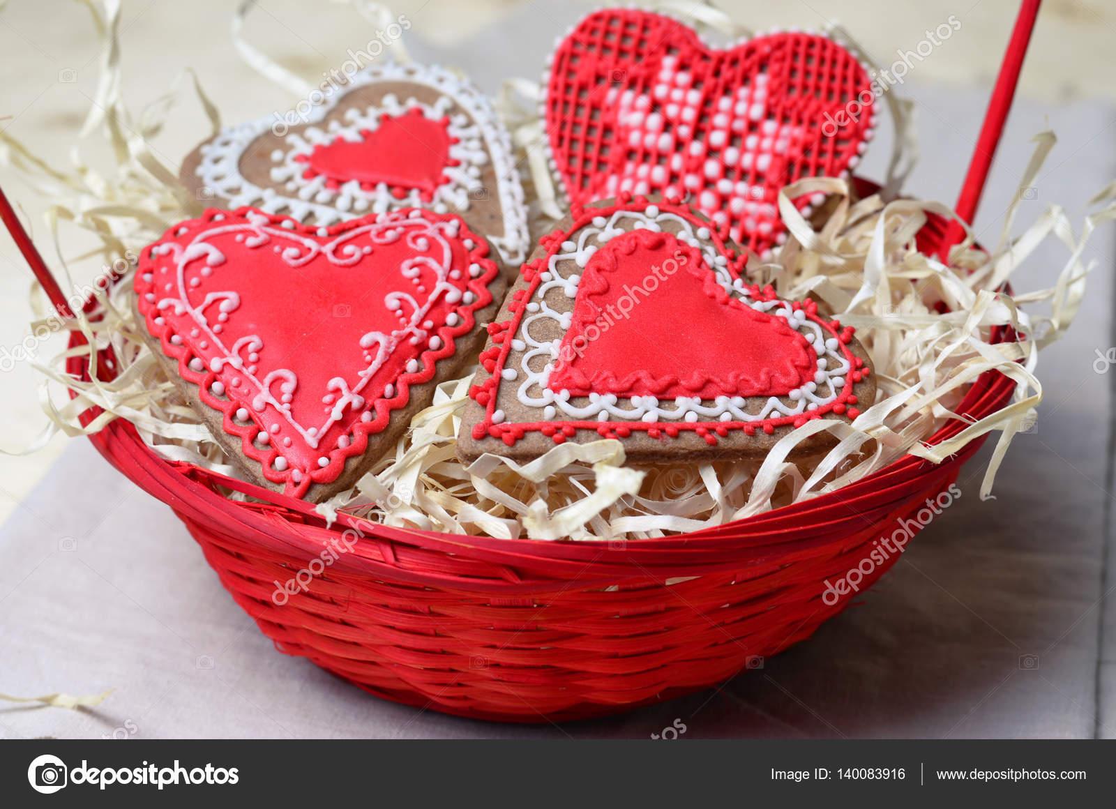 San Valentín Galletas Decoradas Con Glaseado Foto De Stock