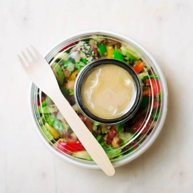 Healphy Vegetarian Salad, Take Away Food Concept, Salad in Food Container, Delicious Vegan Meal