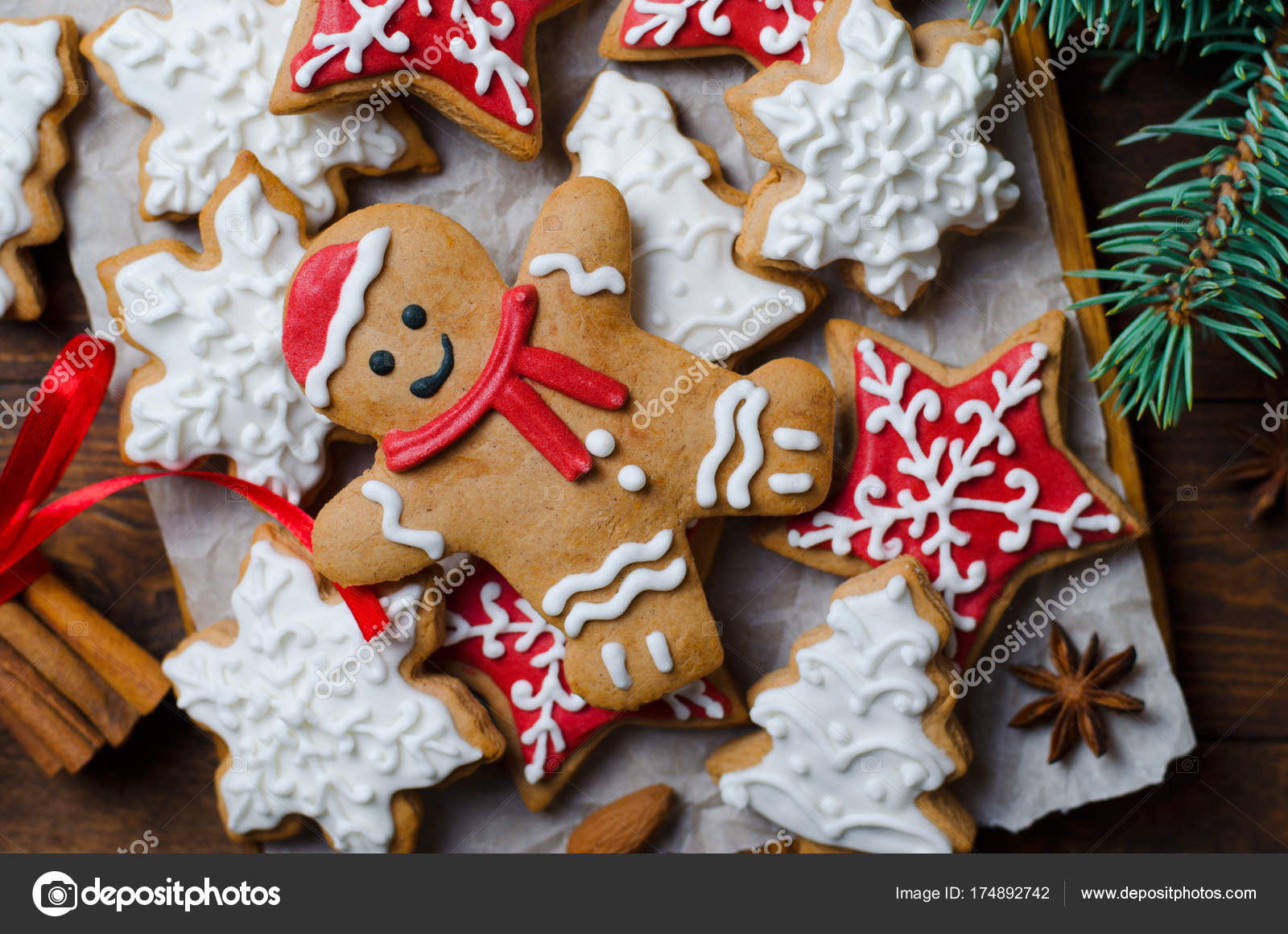 Christmas Cookies On Wooden Background Stock Photo C Julie208