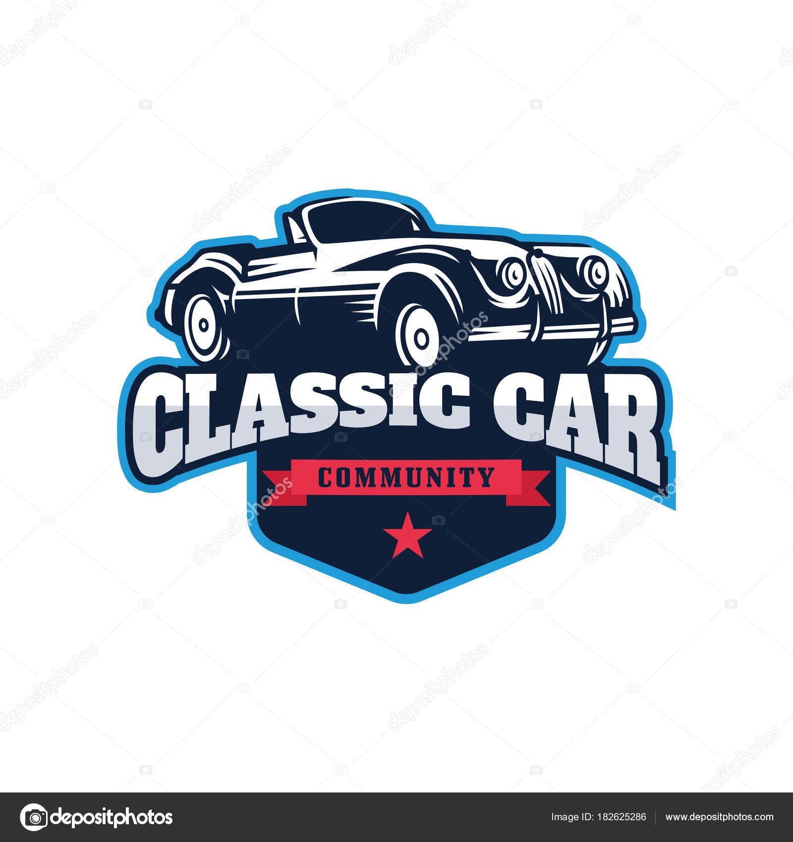 Classic Car Illustration Classic Car Logo Badge Stock Vector