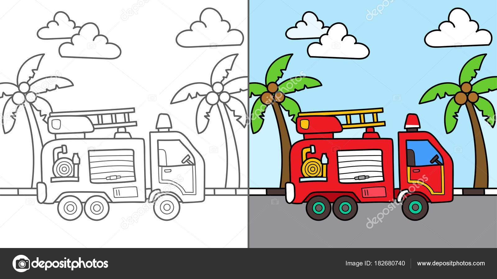 消防車ベクトル漫画イラスト 塗り絵 ストックベクター Yellowline