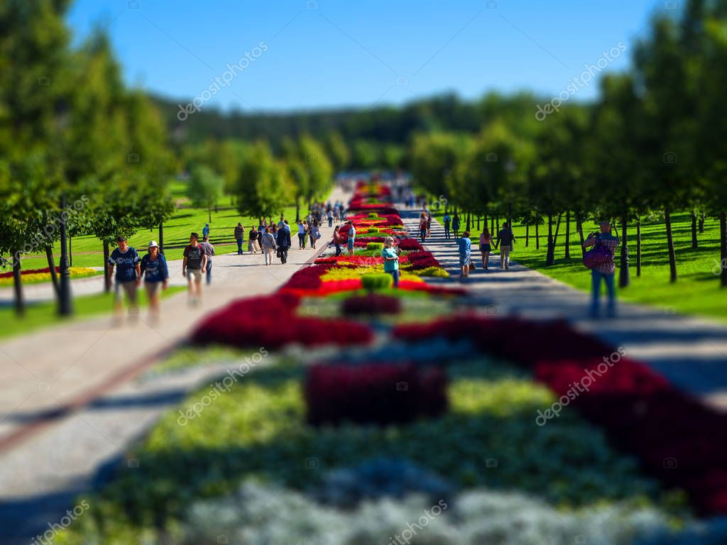 People enjoying, rest a sunny day in a park Moscow. Tilt shift effect applied
