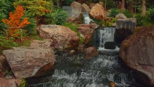 Closeup shot of an exquisite lush Japanese garden with a waterfall in early autumn