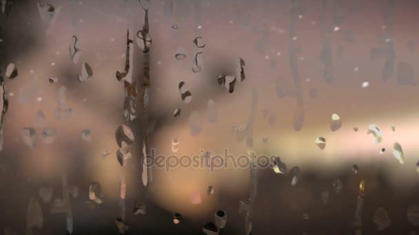 Big Ben und die Torsion-Brunnen von einer Fensterscheibe mit fallenden Regen gesehen
