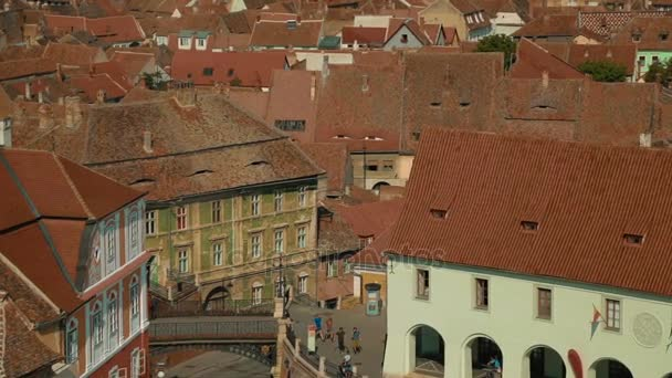 Static high-level shot featuring the picturesque Old Town with traditional houses in Sibiu, Transylvania, Romania