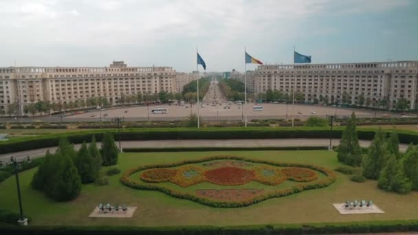 Establishing shot of the city of Bucharest in Romania, showing the Parliament Square and Liberty Avenue
