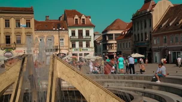 Panoramic shot of the Main Square - Piata Sfatului - in Brasov, Romania