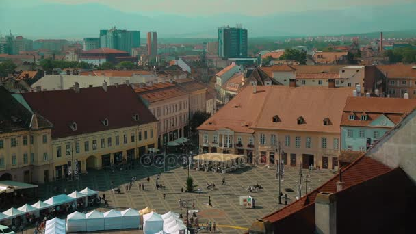 Elevated view of the Main Square - Piata Mare - in Sibiu, Romania