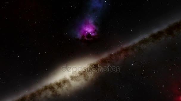 A csillag területen, egy galaxis, és egy szörny kinézetű köd slicc átmenő hely animáció