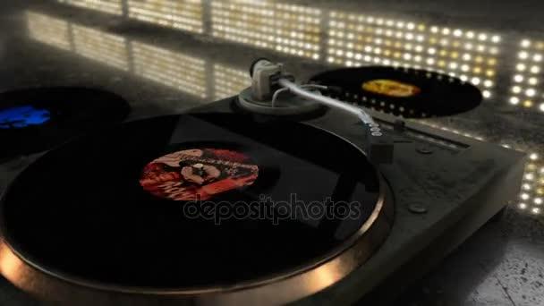Nostalgický Cg animace díky výstřední gramofon s vinyl záznam rotující a pulzující disko osvětlení v pozadí
