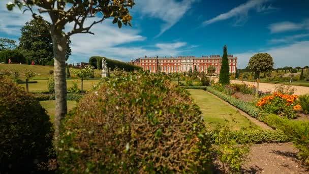 Dolly shot revealing the beautiful Hampton Court Palace in London, England, UK